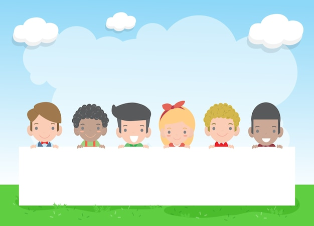 Cartel de fondo del día del niño feliz con niños felices con cartel, niños asomando detrás del cartel, ilustración vectorial