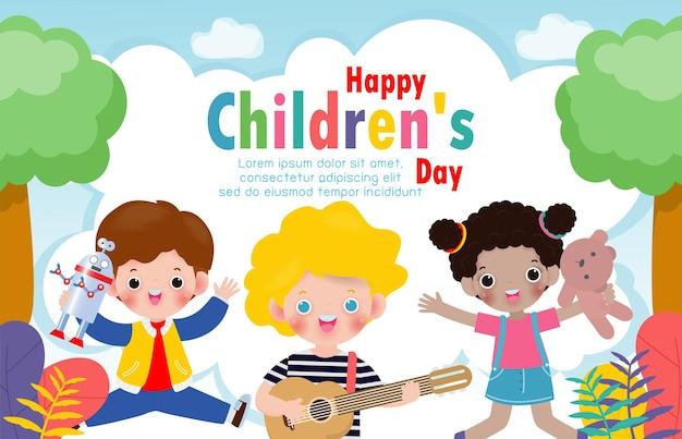 Cartel de fondo del día de los niños felices con niños felices saltando y sosteniendo juguetes ilustración aislada