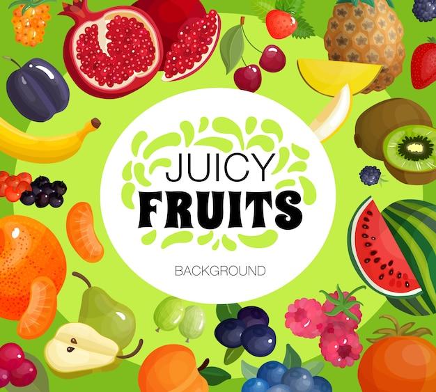 Cartel del fondo del marco de las frutas frescas