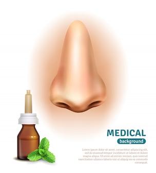 Cartel del fondo médico de la botella del espray de nariz