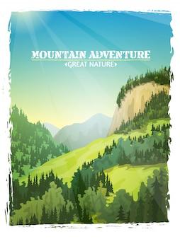 Cartel del fondo del paisaje de las montañas