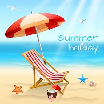 Cartel de fondo de playa de vacaciones de verano con silla estrellas de mar y cóctel vector ilustración