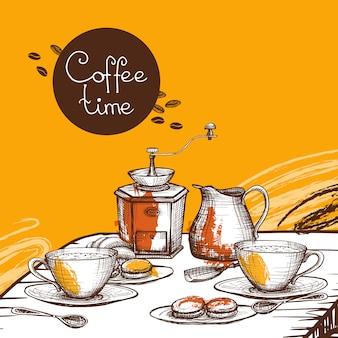 Cartel del fondo del tiempo del café