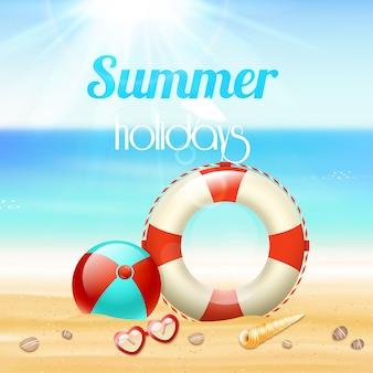 Cartel del fondo del viaje de las vacaciones de las vacaciones de verano con la línea de vida de las gafas de sol y las estrellas de mar en la arena de la playa