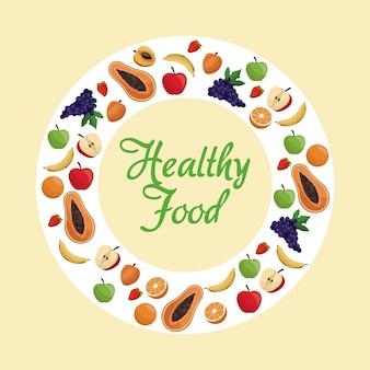 Cartel de frutas de alimentos saludables