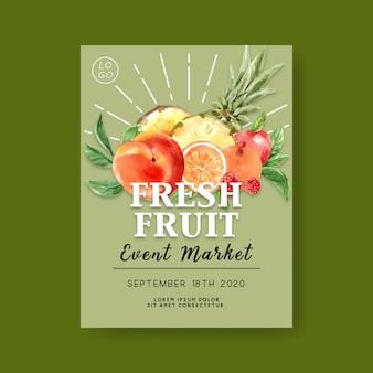 Cartel con frutas tropicales, plantilla de ilustración de fondo verde