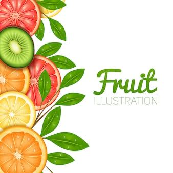 Cartel de frutas de verano con pomelo naranja limón cortado y kiwi.