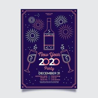 Cartel de fuegos artificiales de año nuevo en estilo de contorno