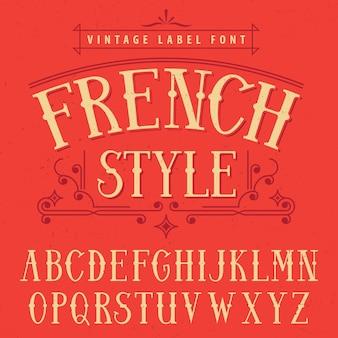 Cartel de fuente de etiqueta de estilo francés