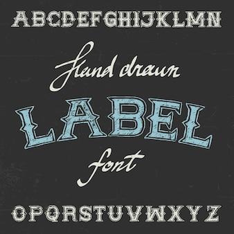 Cartel de fuente de etiqueta vintage con alfabeto en negro