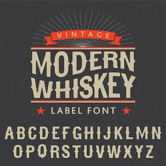 Cartel de fuente de etiqueta de whisky moderno con decoración y estrellas en ilustración negra