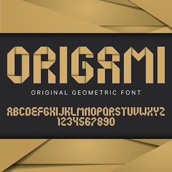 Cartel de fuente geométrica de origami con fuente geométrica colorida