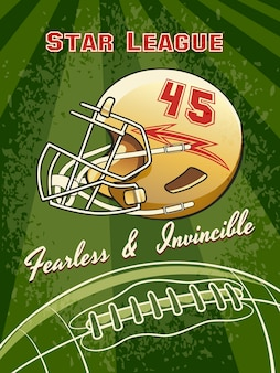 Cartel de fútbol de la liga estrella con casco y campo de fútbol.