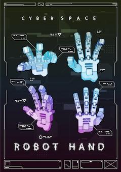 Cartel futurista abstracto con mano robot. ilustración del concepto con elementos de hud.