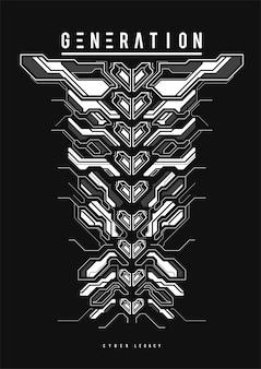 Cartel futurista cyberpunk. plantilla de cartel abstracto tecnológico con elementos de hud. folleto moderno para web e impresión. piratería, cibercultura, programación y entornos virtuales.