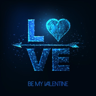 Cartel futurista del día de san valentín con brillante palabra poligonal baja amor, símbolo del corazón y flecha de cupido