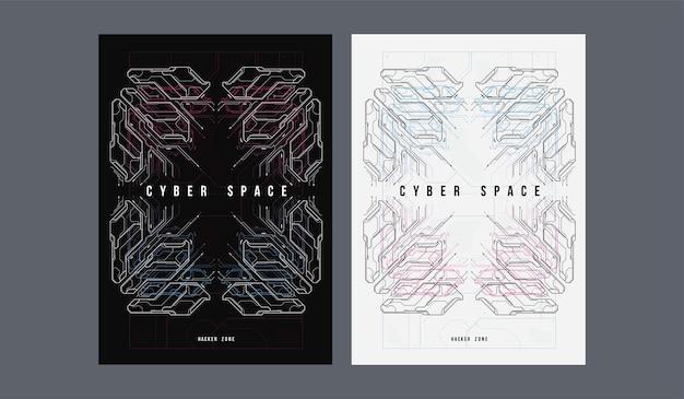 Cartel futurista del espacio cibernético. plantilla de cartel retro futurista.