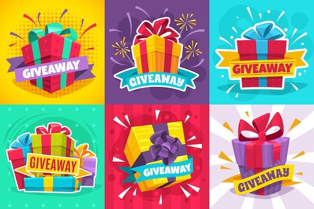 Cartel del ganador del sorteo oferta de regalo banner obsequios post y recompensa del ganador