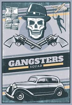 Cartel de gángster de color vintage con calavera con sombrero mafia coche dinero cruzado revólveres mano con marioneta
