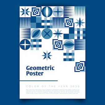 Cartel geométrico con la clásica paleta azul 2020