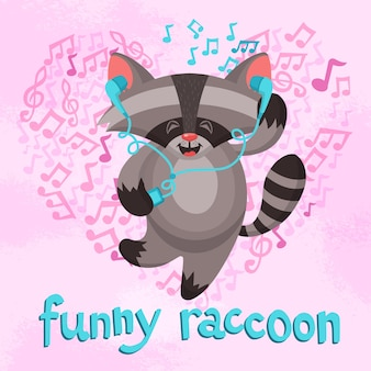 Cartel gracioso del mapache