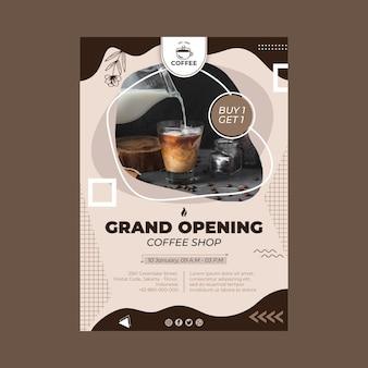 Cartel de la gran inauguración de la cafetería.