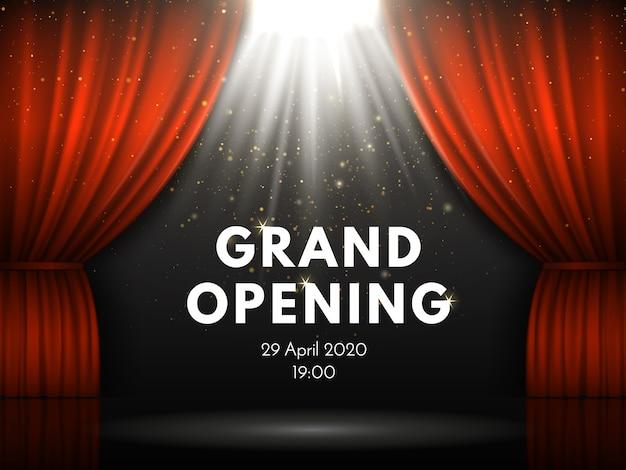 Cartel de gran inauguración con cortinas rojas en el teatro actuando.