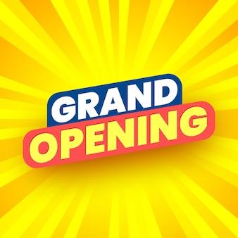 Cartel de gran inauguración sobre fondo amarillo rayado ilustración vectorial