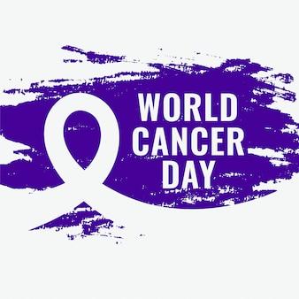 Cartel de grunge de conciencia abstracta del día mundial del cáncer