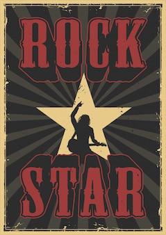 Cartel de grunge de estrella de rock