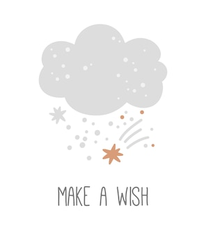 Cartel de guardería con linda nube y estrellas sobre un fondo blanco pide un deseo impresión infantil