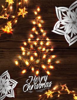 Cartel de la guirnalda del árbol de navidad
