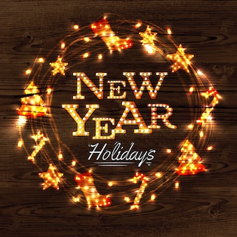Cartel de guirnalda de guirnalda de año nuevo