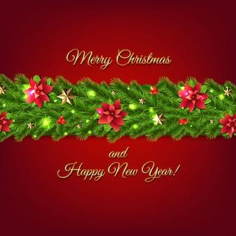 Cartel de guirnalda de navidad con abeto