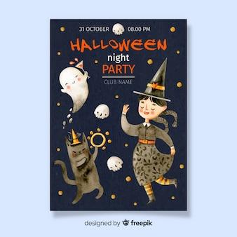 Cartel de halloween con bruja bailando