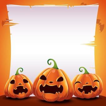 Cartel de halloween con calabazas realistas sobre fondo naranja con lugar de texto en hoja de papel, pergamino y con murciélagos. ilustración de vector de carteles, pancartas, invitaciones, publicidad, folletos.
