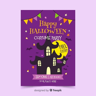 Cartel de halloween con casa en la noche