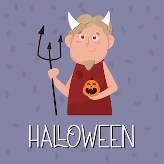Cartel de halloween con diablo con cuernos. concepto de halloween. ilustración de vector de estilo plano