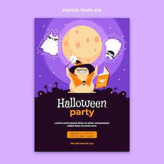 Cartel de halloween de diseño plano dibujado a mano