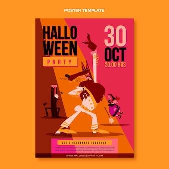 Cartel de halloween de diseño plano