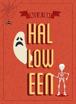 Cartel de halloween con fantasma con esqueleto