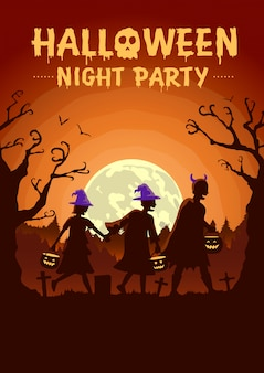 Cartel de halloween con grupo de niños vistiendo ropa elegante y sombrero como bruja llevando una olla para solicitar regalos por la noche