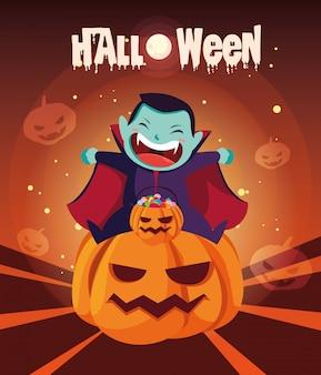Cartel de halloween con niño disfrazado de vampiro
