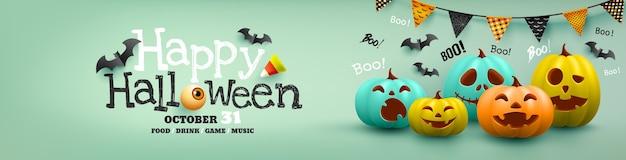 Cartel de halloween y plantilla de banner con calabaza de halloween colorida y murciélago. sitio web espeluznante, ilustración vectorial eps10