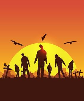 Cartel de halloween, silueta de zombies caminando, ilustración