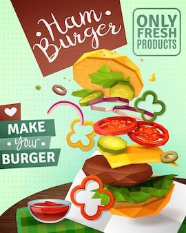 Cartel de hamburguesa 3d ad