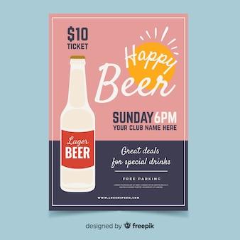 Cartel de happy hour con botella de cerveza