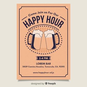 Cartel de happy hour brillante de diseño plano