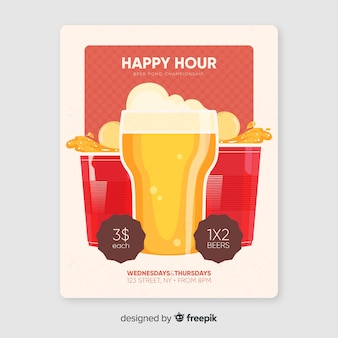 Cartel de happy hour con campeonato de cerveza pong