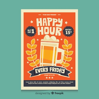 Cartel de happy hour con cerveza en una taza